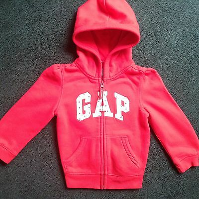 Baby Gap Child/red Hoodie Style Jacket With Zip -Size Uk Aged 3 Years / 2 Years