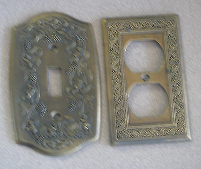 2 vintage solid brass light switch plates and outlet covers