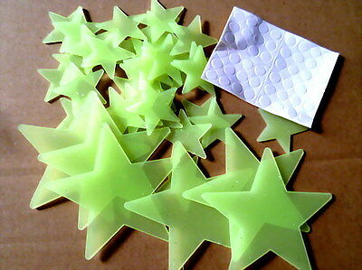 42 pc Glow in Dark Stars plastic wall stick decoration kid room Party Favors