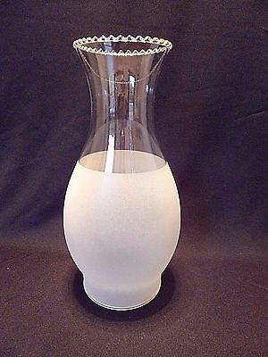 "Beautiful Frosted Glass Chimney Shade Scalloped Top 9.5"" Tall 3.5"" Fitter"
