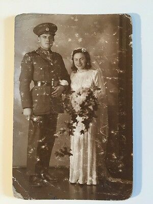 Vintage Postcard - RP Anonymous People - Wedding Solider  #21