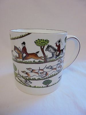 Crown Staffordshire Fine Bone China Hunting Scene Large Mug Beaker Hairline