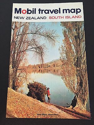 Vintage Mobil Gas Station Travel Map New Zealand South Island