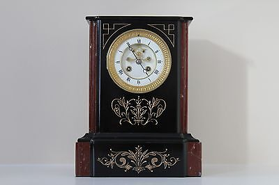 French Slate and Marble Mantel Clock with a visible escapement c1885