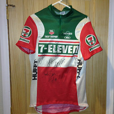 7-11 Jersey Signed by 7-11 Team Members - Rob Roll - Andy Hamsten  + 8  More
