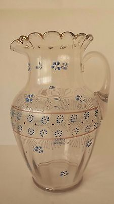 Vintage Enamel Decorated Glass Pitcher