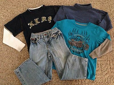 Boy's 4-piece lot clothing size 6 long-sleeved shirts jeans