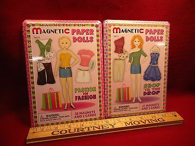 2 Magnetic Paper Doll Tin Box Activity Sets Shopping and Fashion Themes