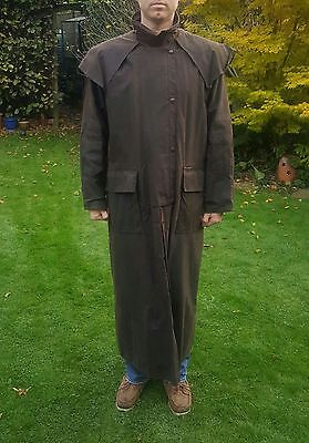 Men's XXXL Drizabone full length brown waxed cotton jacket