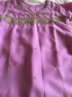 Indian girl's pretty dress, pink with gold lines, silver embroidery, wide leg tr