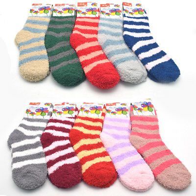 8 X Pairs Lady's Striped Soft Fluffy Lounge Cosy Bed Socks
