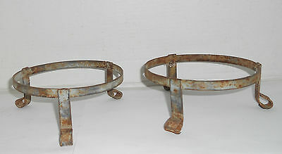 2 Vintage Rustic Shabby Metal Iron Small Plant Stand Holder Garden Patio