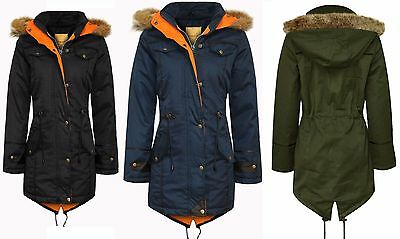 Children Kids Parka Quilted Jacket Girls Winter Coat Fur Hooded Trench Fishtail