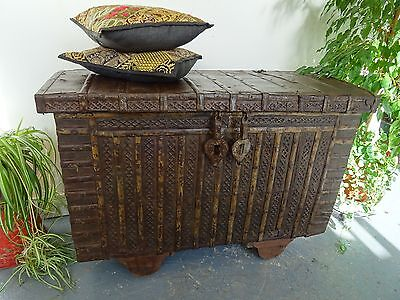 Rajasthan Wooden & Metal Dowry Chest 117cm W Indian Chest Box Worn Condition B2
