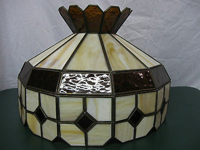 1960's Large Brown and Tan Diamond and Shield stained glass light shade