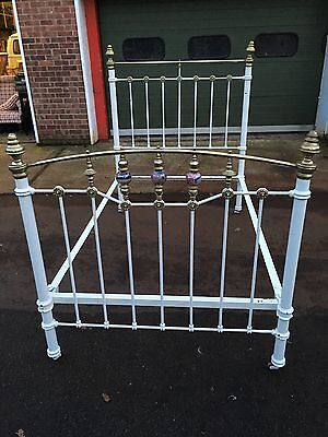 Beautiful Vintage Cast Iron Brass Small Double 4 Foot Bed Decorative Divine Chic