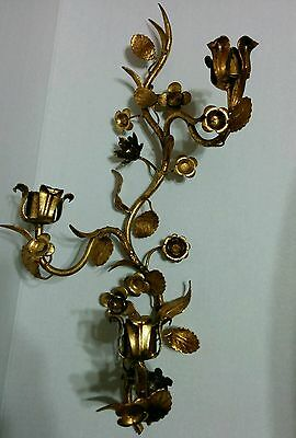 S Salvadori Firenze Gold Metal TOLE Wall Candle Sconce Hollywood Regency Italy