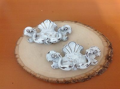 125 VTG  Style Chippendale Pulls In A Lovely White Chubby Chic! Set Of 2