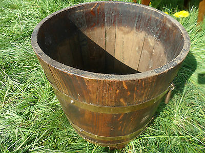 Antique Edwardian brass and wood barrel planter with iron handles