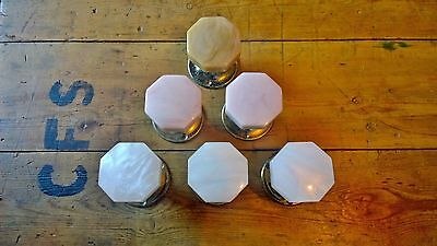 Vintage Reclaimed Octagonal Wilbec Handles Knobs Lucite Pearlescent 1960's Retro