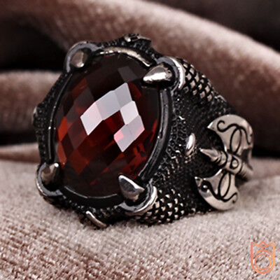 NEW Unique 925 Sterling Silver Handmade Ottoman Mens Gift Him Ring Ruby All Size