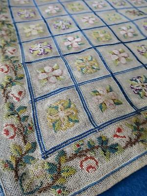 Pretty Antique Victorian Silkwork Petit Point Tapestry Panel- Flowers