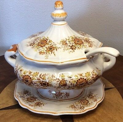 Vintage Soup Tureen with Platter, Lid and Ladle