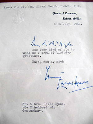 Sir Edward Heath - *SIGNED*  LETTER - British Prime Minister - Tory Party