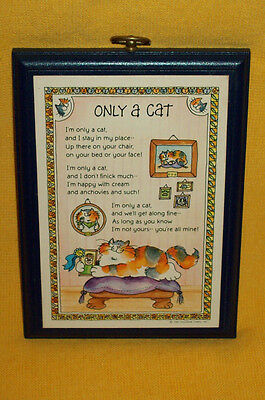 Vintage 1982 Hallmark Cards ONLY A CAT Wood Wall Plaque Sign Animal Pet Feline