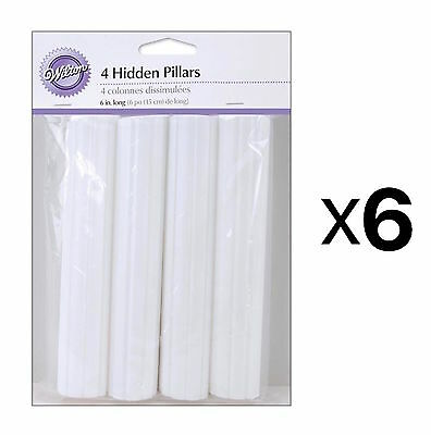 Wilton Hidden Cake Pillars White 6 Inch Trimable 4-Pack Hollow Plastic (6-Pack)