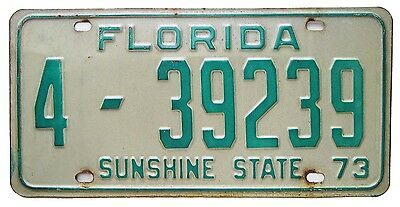 Florida 1973 Passenger Car License Plate, Pinellas County, Can Be Registered
