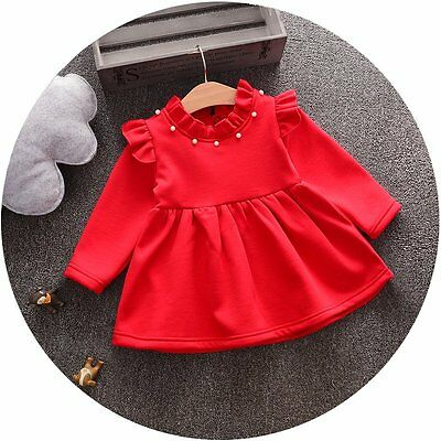 UK SELLER Babies Girls Toddlers Red Christmas Xmas Dress Thick Warm  6 Months-2Y