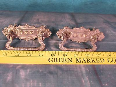 Antique solid brass Drawer pulls very ornate heavy 3 dot chest cupboard