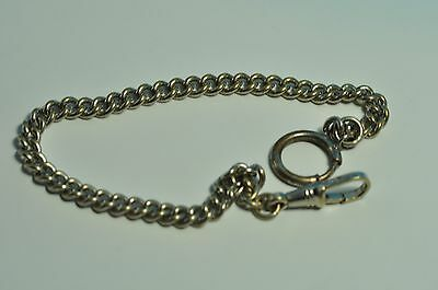 Antique silver tone   pocket watch single chain fob 10 inch