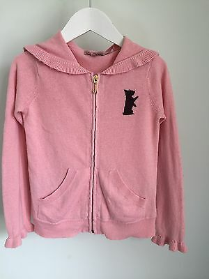 Juicy Couture Girls Pink Cotton Knit Long Sleeve Zip Front Top WIth Hood / LOGO