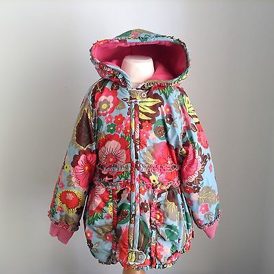 Oilily girls stunning winter coat age 4-5 Years 104 Pink Florals