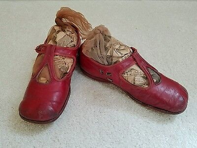 Early 1900's Antique Red Childrens Shoes