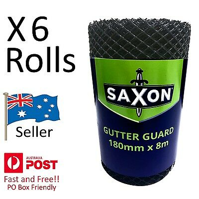 Gutter Guard - 6 Rolls of Black Plastic Mesh 180mm x 8m per Roll