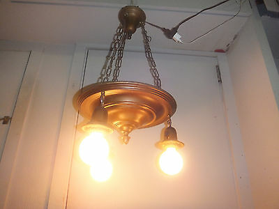 "Antique Art Nouveau Ceiling Lamp Gorgeous - Great Look - 14"" Wide l"