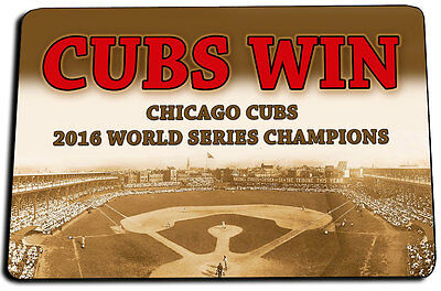 TWO Chicago Cubs CUBS WIN 2016 World Series Champions Door Mats & Key Rings