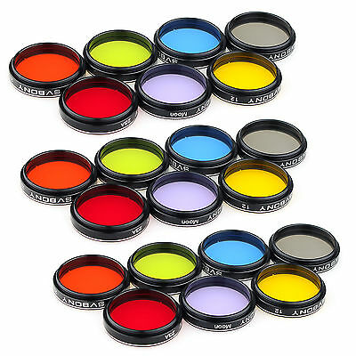 """Stanard 1.25"""" Colored Eyepiece Filter set&Moon Filters Accessories for Telescope"""