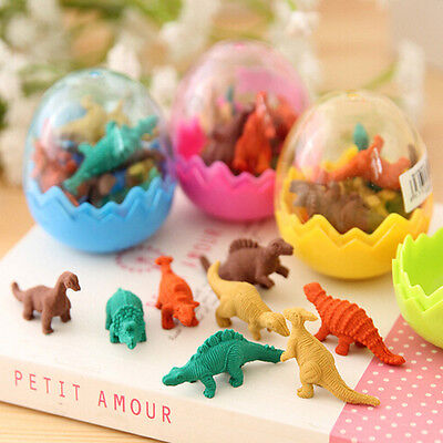 8pcs Funny Dinosaurs Egg Pencil Rubber Eraser Students Office Stationery Gifts.