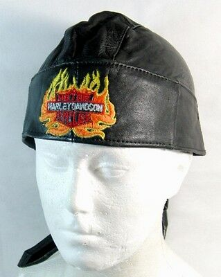 Harley Davidson Motorcycles Embroidered Black Leather Head Wrap Skull Cap L-XL