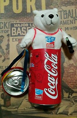 Athens 2004 Olympics Coca Cola Can W/plush Polar Bear Holding A Bottle & Ribbons