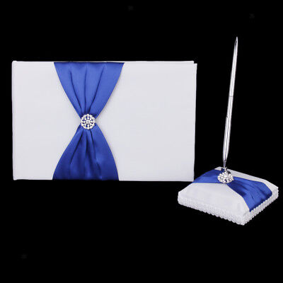 Royal Blue Bow Wedding Ceremony Guest Book Signing Pen Set Party Favors