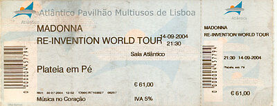Madonna Re-Invention World Tour Used Concert Ticket Portugal