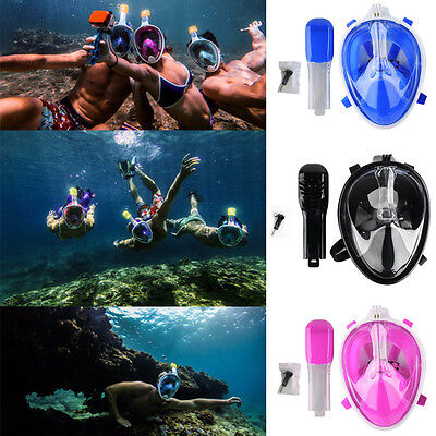 US Full Face Dry Breath Snorkel Mask Diving Swimming Scuba Goggle for GoPro Swim