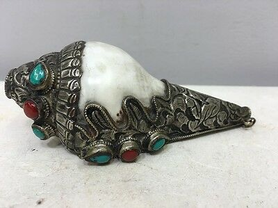 Tibetan Shell Ceremonial Conch Trumpet Etched Silver Beaded