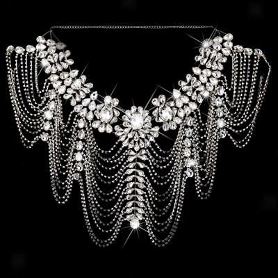 Silver Diamante Crystal Necklace Shoulders Chain Earring Set Wedding Jewelry