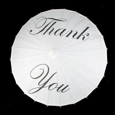 """Paper Parasol Umbrella Handle for Bridal Wedding w/White Leters """"Thank you"""""""